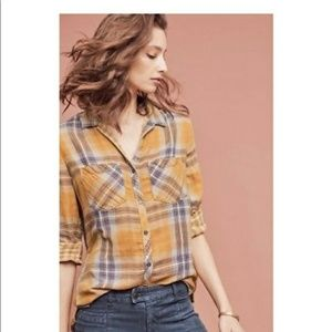 Anthropologie Cloth & Stone Flannel Plaid Top Smal